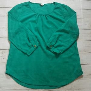J.crew factory 3/4 sleeve green checkered blouse